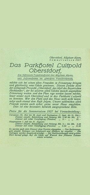 Parkhotel Luitpold 1927 Beileger