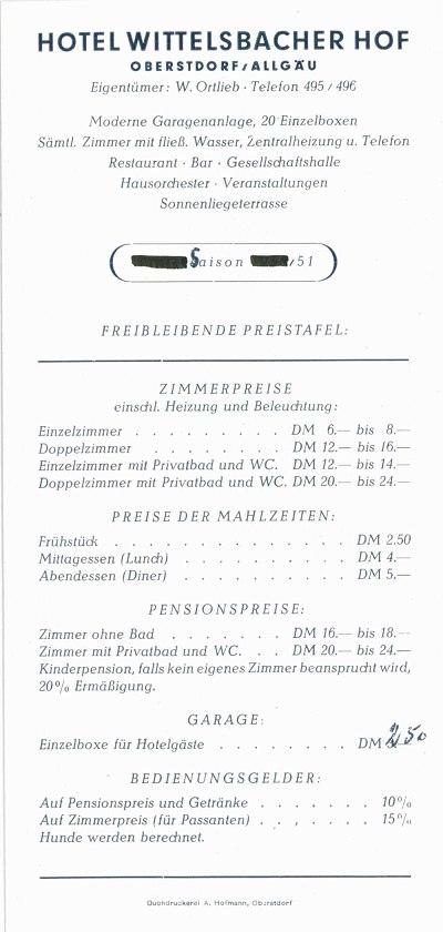 Wittelsbacher Hof 1951 Beileger Seite 2