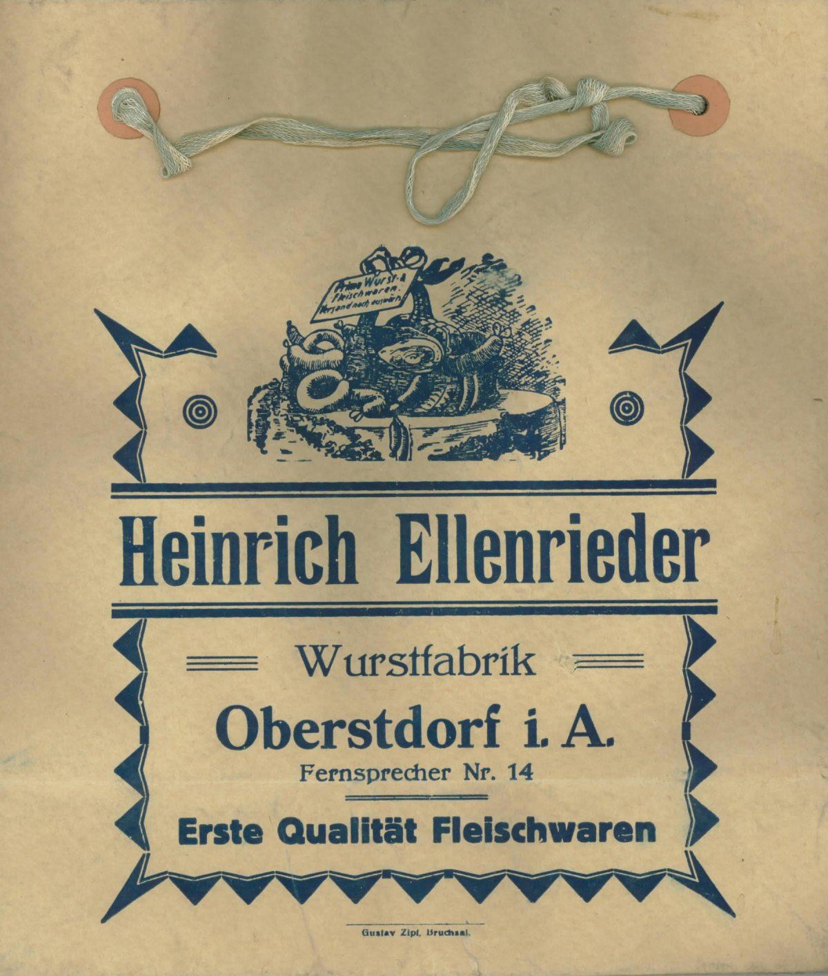 Einkaufstüte: Heinrich Ellenrieder (Wurstfabrik)
