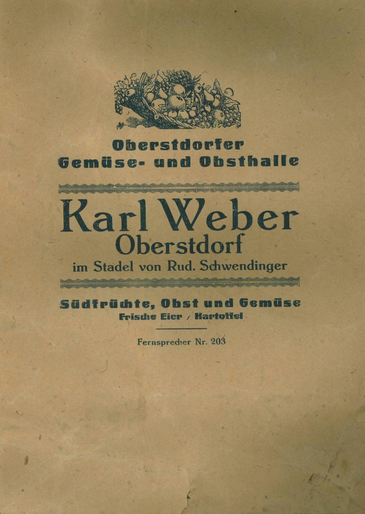 Einkaufstüte: Karl Weber (Gemüse/Obst)