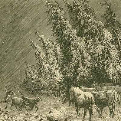 Herde im Schneesturm (Skizze 3)