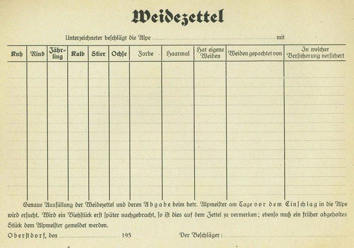 Weidezettel von 1950