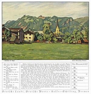 Kalenderblatt mit Bild 1937