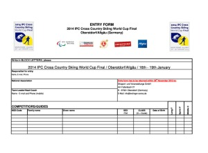 Entry Form IPC Worldcup Oberstdorf 2014