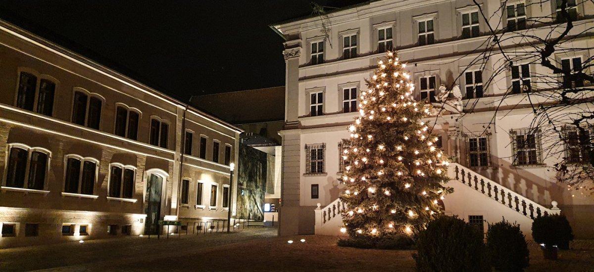 Christbaum vor dem Iphöfer Rathaus