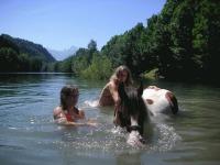 Pony 'Monty' beim Baden