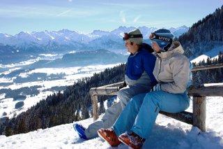 Skifahrer Aussicht im Allgäu