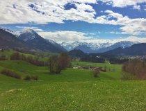 Blick vom Malerwinkel Richtung Oberstdorf auf die Allgäuer Alpen