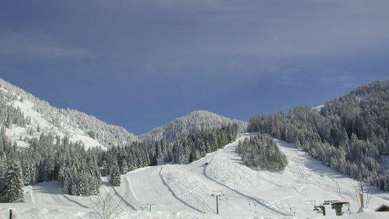 Blick auf das Skigebiet Riedbergerhorn