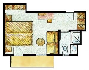 Grundriss Doppelzimmer Gänseblümchen