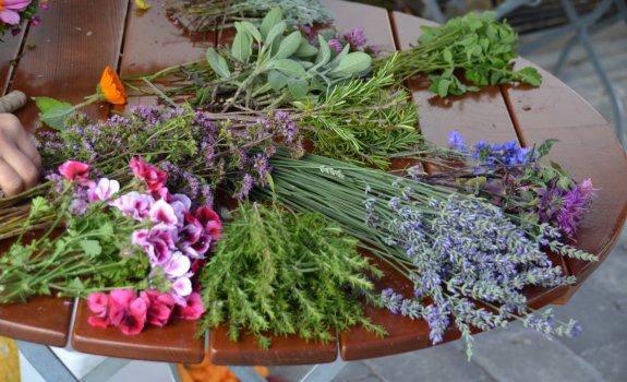Besondere Blumen- und Kräuterauswahl