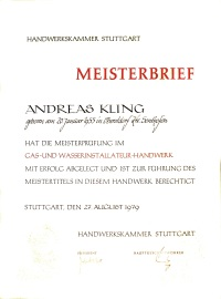 Meisterbrief Andreas Kling