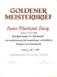 Goldener Meisterbrief Meinhard Kling