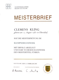 Meisterbrief Clemens Kling
