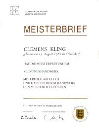 Meisterbrief Clemens Kling