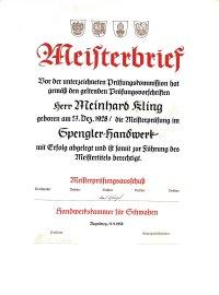 Meisterbrief von Meinhard Kling