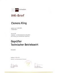 Geprüfter Technischer Betriebswirt Clemens Kling