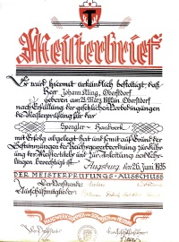 Meisterbrief Johann Kling