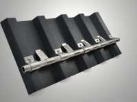 Snow retention fixing in aluminium for trapezoidal sheet metal roofs
