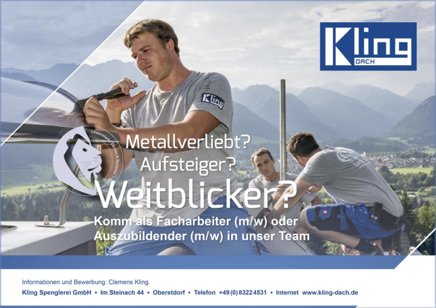 Kling Dach-Stellenanzeige für Spengler in Oberstdorf