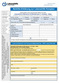 Beitrittserklärung Mitgliedschaft Lebenshilfe Kempten
