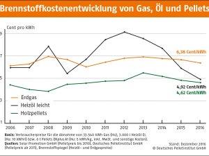 Brennstoffkostenentwicklung-Gas Oel Pellets