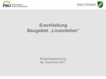 28.12.2017 Präsentation Frau Seeler Planungsbüro PBU - Linzenleiten
