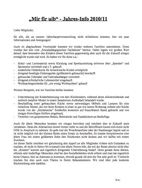 Mir fir uib - Jahrsbericht 2010-11