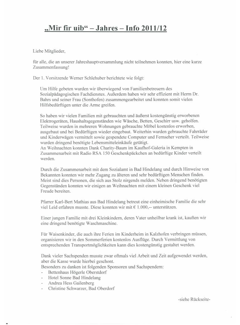 Mir fir uib - Jahresbericht 2011-2012