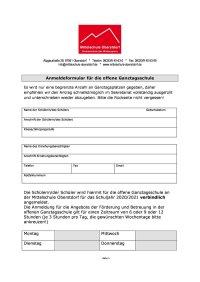 Anmeldung offene Ganztagsschule 2020/21