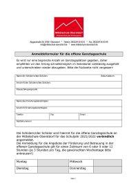 Anmeldung offene Ganztagsschule2021