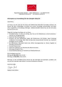 Infobrief Anmeldung neue Schüler 2021 version2