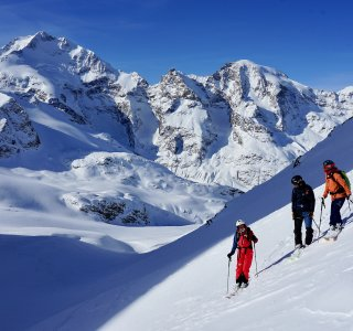 Abfahrt über Morteratsch-Gletscher, Skitour Julierpass, Schweiz