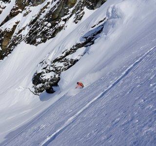 Abfahrt über den Blåsen Gletscher, Jiehkkevarri, Lyngen Alps