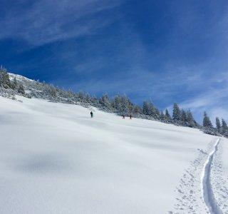 Skitourenwochenende, Kurs, Spuranlage im Neuschnee