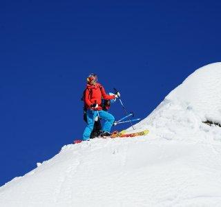 Skitouren in St. Antönien, Abfahrt von der Rotspitze