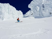 Lyngen Alps, Einfahrt in eine Steilrinne am Storgalten
