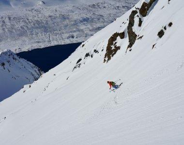 Lyngen Alps, Storgalten, Abfahrt Straumen