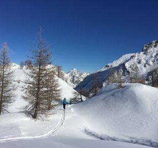 Skitour im Valle Maira, im Aufstieg zm Bodoira