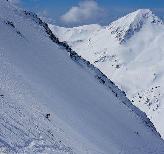 Abfahrt vom Vihren, top of Balkan, Freeriden und Skitouren im Pirin Gebirge