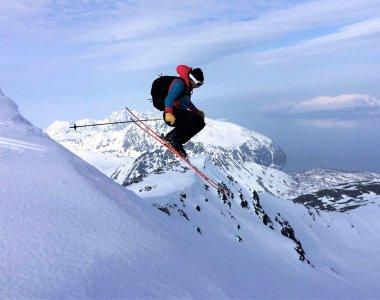 Skitour, Sprung, Norwegen, Fjord