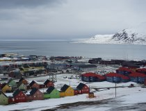 Bute Häuser in Longyearbyen, Zentrum in Spitzbergen