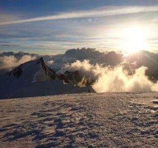 Mont Blanc, Sonnenaufgang, Gletscher, Wolken