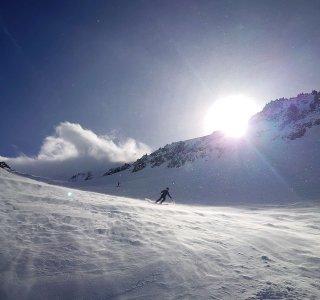 Freeriden, Abfahrt, Sonne, Berge