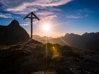 Oberstdorf, Sonnenuntergang am Gipfel