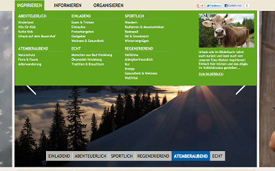 Bad Hindelang Mega Dropdown und sticky Navigation © Bad Hindelang Tourismus