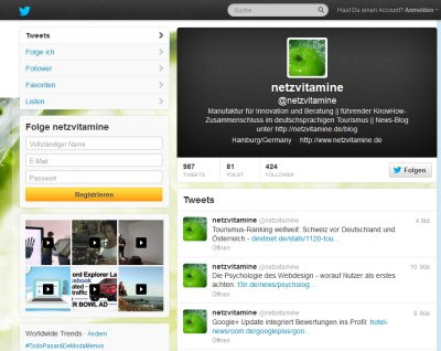 Screenshot Twitter Netzvitamine © Twitter Inc.