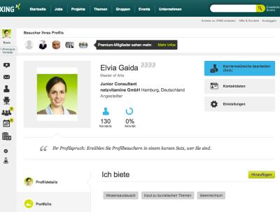 Screenshot Xing-Profil Elvia Gaida © Xing AG