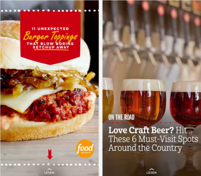 Good Practice: foodnetwork und Craft Beer © Screenshots Snapchat-App