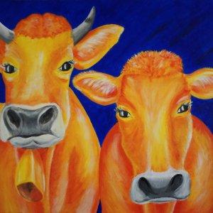 2 Kühe Acryl auf Leinwand 60x40cm